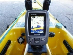 Fish Finder Mounted on front of kayak