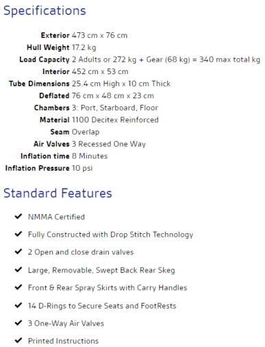 sea eagle 473rl specifications