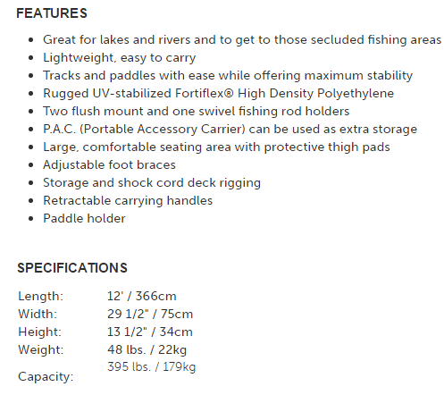 sun dolphin 12 specifications