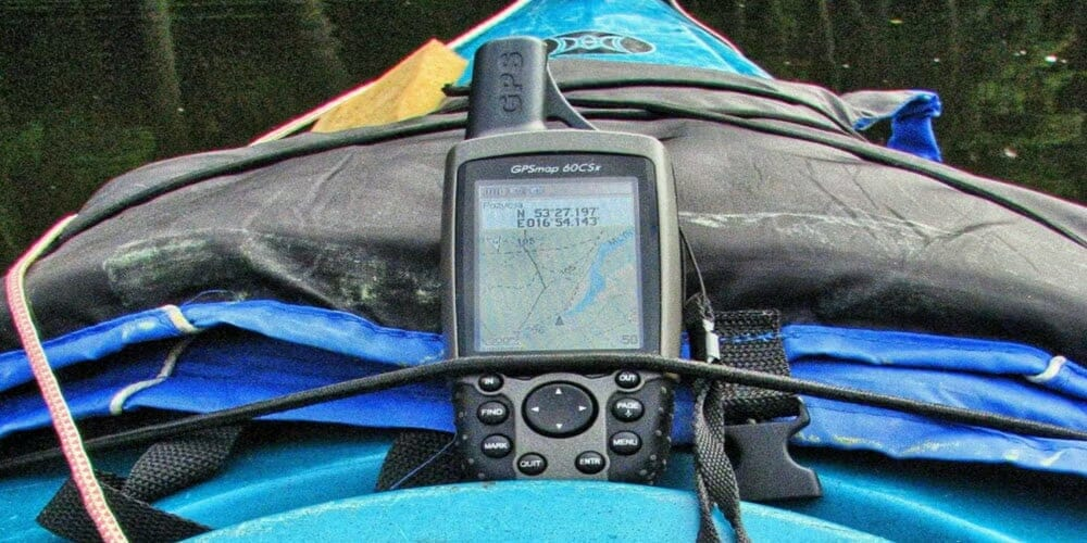 gps strapped to a kayak